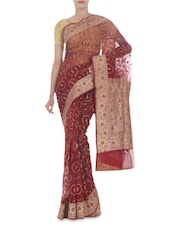 Maroon Embroidered Banarasi Pure Net Silk Saree - By