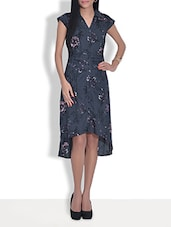 Peacock Blue Printed Cotton Hi-low Dress - By