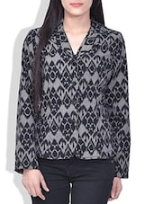 Black Printed Full Sleeved Cotton Jacket - By