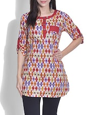 Red Cotton Printed Three Quarter Sleeved Kurta - By