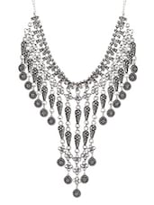 Silver And Black Layered Statement Necklace - By
