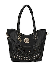 Black Faux Leather Embellished Shoulder Bag - By