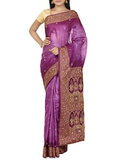 Purple Brocade Tussar Silk Saree - By