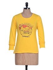 Yellow Long Sleeve Crew Neck T-shirt - Aloha
