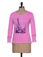 Pink Long Sleeve Crew Neck T-shirt - Aloha