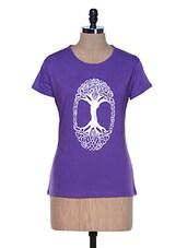 Purple Half Sleeve Crew Neck T-shirt - Aloha