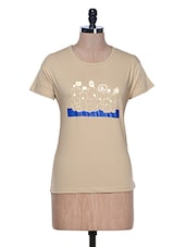 Beige Printed Half Sleeve Crew Neck T-Shirt - Aloha
