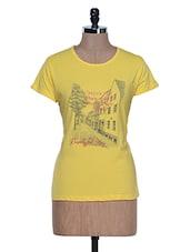 Lemon Yellow Printed Half Sleeve Crew Neck T-shirt - Aloha