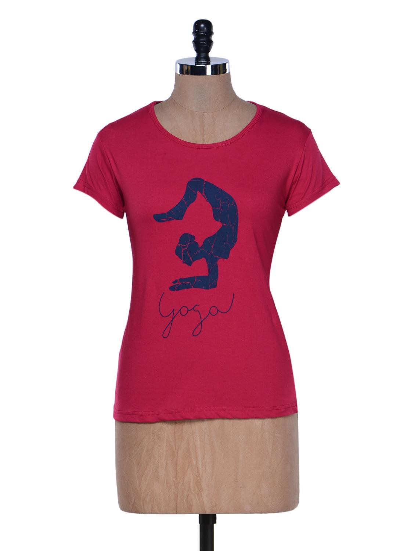 Dark Pink Half Sleeve Crew Neck T-shirt - Aloha