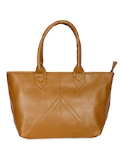 Solid Light Brown Faux Leather Handbag - By
