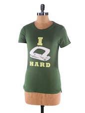 Green  Crew Neck Cotton T-shirt - Kapdaclick.com