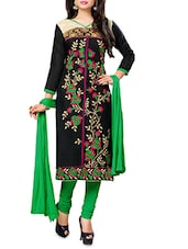 Black And Green Embroidered Unstitched Suit Set - By