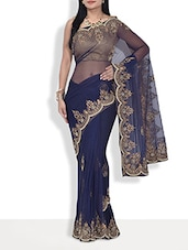 Navy Blue Embroidered Net Handworked Saree - By