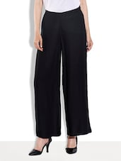 Solid Black Rayon Palazzo Pants - By