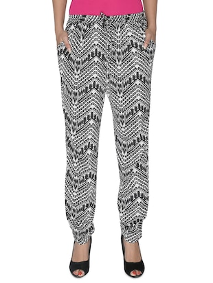 monochrome geometric printed rayon pants -  online shopping for Harem Pants