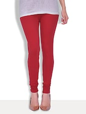 Premium  Solid Red Cotton Lycra Legging - By