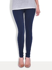 Premium  Solid Navy Blue Cotton Lycra Legging - By