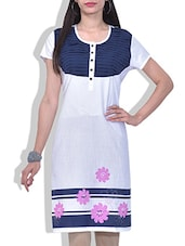 White Printed Cotton Kurti With Pleated Yoke - By