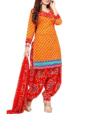 Yellow Crepe Printed Unstitched Patiala Suit Set - By