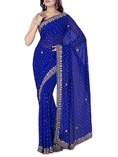 Royal Blue Embroidered And Embellished Chiffon Saree - By