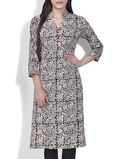 Black And Light Grey Block Printed Cotton Kurta - By