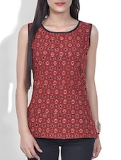 Brick Red Block Printed Cotton Sleeveless Top - By