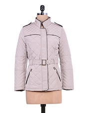 Light Grey Quilted Full-sleeved Jacket - By