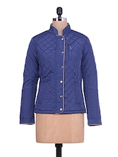 Royal Blue Quilted Full-sleeved Jacket - By