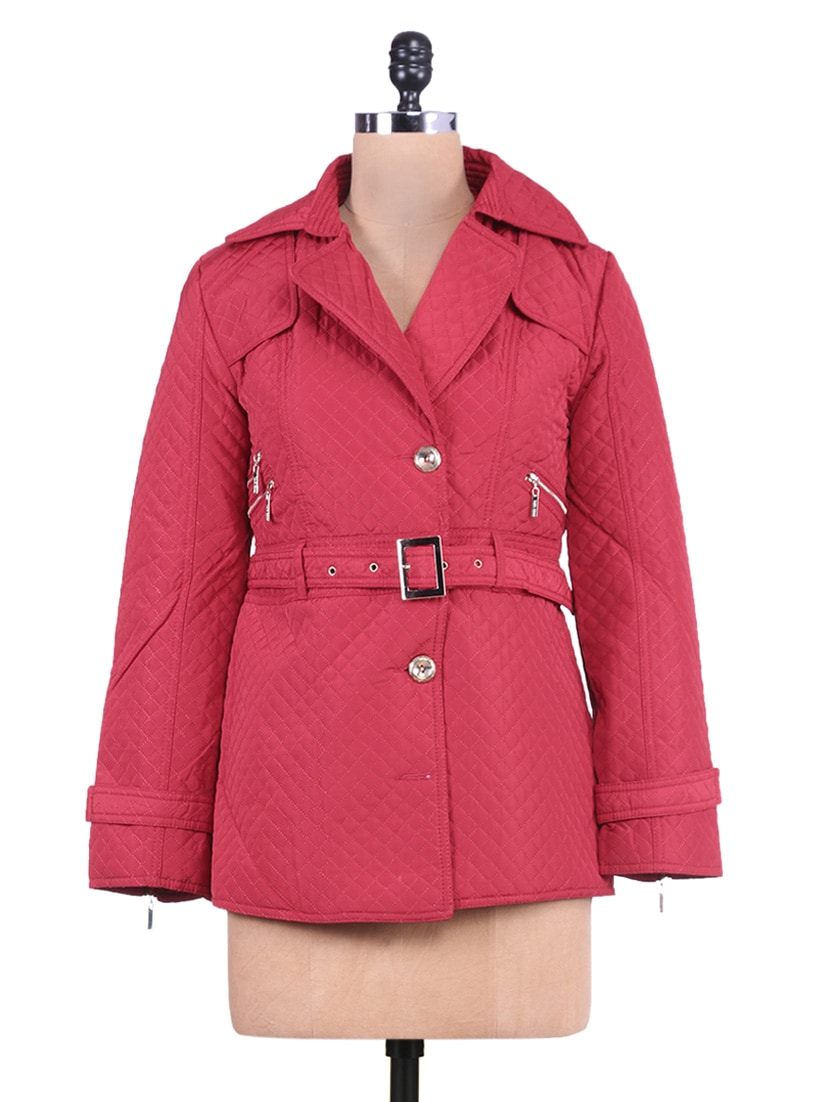Solid Red Quilted Full-sleeved Jacket - By