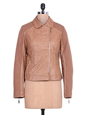 Solid Brown Textured Full-sleeved Jacket - By