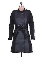 Black Quilted Long Jacket With Waist Belt - By