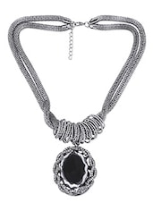 Black And Silver Twisted Stone Embellished Necklace - By