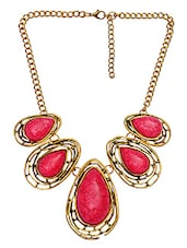 Red Stone Embellished Raindrops Shaped Necklace - By