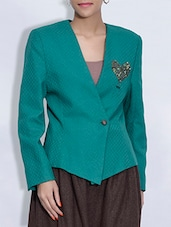 Sea Green Sequined Woolen Coat - By