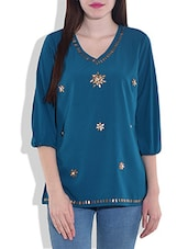 Teal Quarter Sleeved Top With Applique Details - By