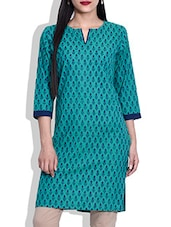 Turquoise Blue Hand Block Printed Cotton Kurta - By