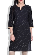 Black Hand Block Printed Cotton Kurta - By