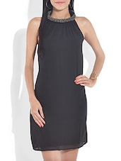 Black Sleeveless Dress With Embellished Neckline - By