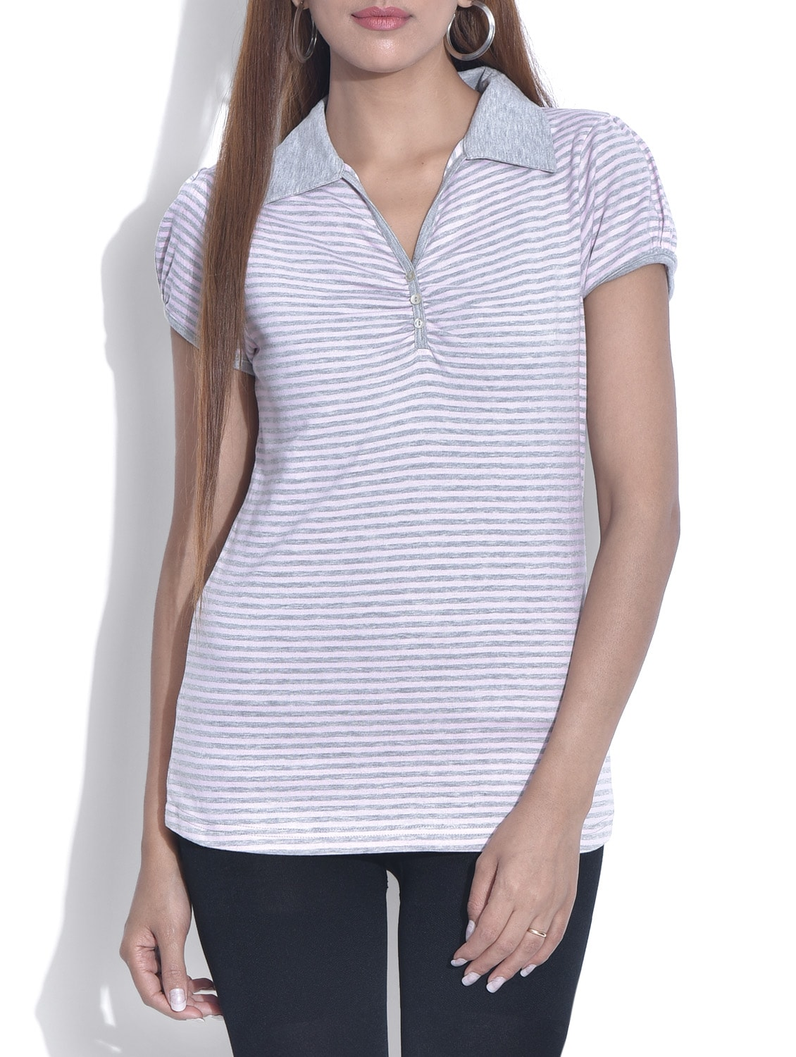 White And Grey Striped Knitted Cotton Top - By