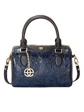 Blue  Leather Floral Printed Handbag - By