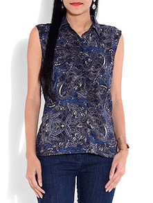 Grey and blue printed rayon top