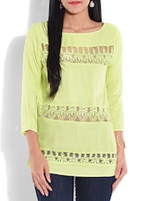 Solid Yellow Laced Rayon Top - By