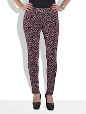 Multicolored Floral Printed Viscose Lycra Knit Leggings - By