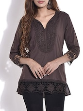 Brown Embroidered Cut-worked Hem Cotton Top - By