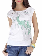 White Multi Printed Cap Sleeved Cotton Top - By