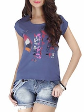 Spruce Blue Printed Cotton Top - By