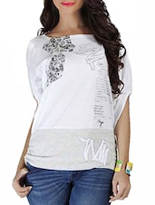 White Printed Dolman Sleeved Organic Cotton Top - By