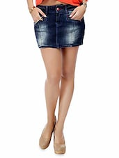 Blue Stone Washed Cotton Denim Mini Skirt - By