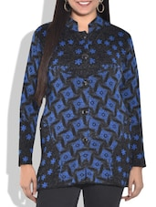 Blue And Black Full-sleeved Acrylic Cardigan - By
