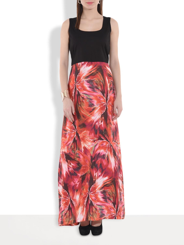 Black Printed Sleeveless Maxi Dress - By